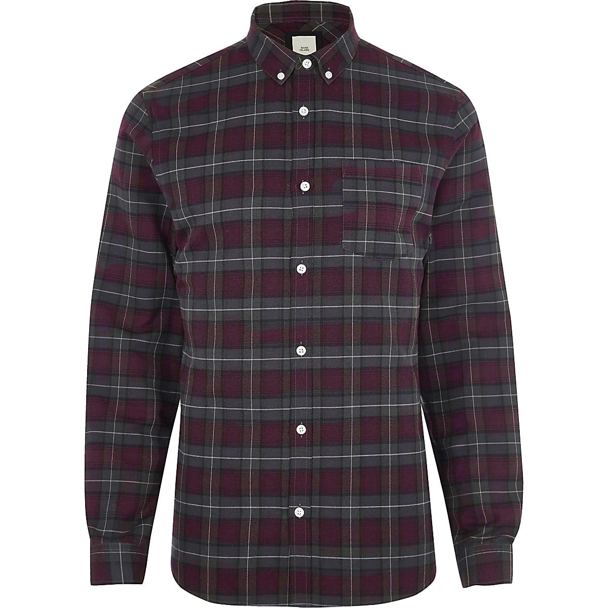 Chemise casual à carreaux rouge baie