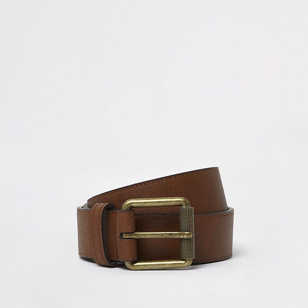 Tan brown square buckle jeans belt