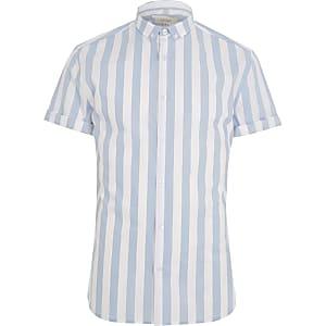 Blue stripe muscle fit short sleeve shirt