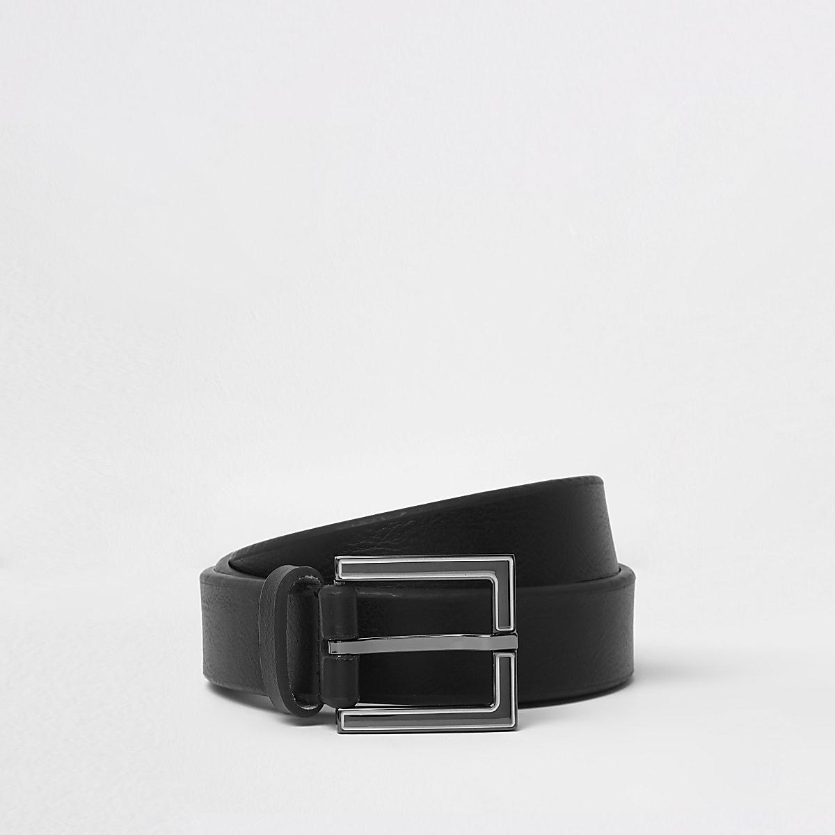 Ceinture à boucle carrée en émail noire