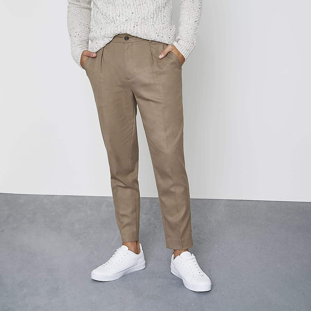 Camel slim fit pleated smart pants