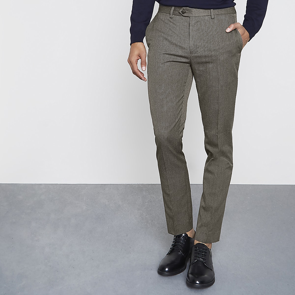 Brown puppytooth check skinny fit pants