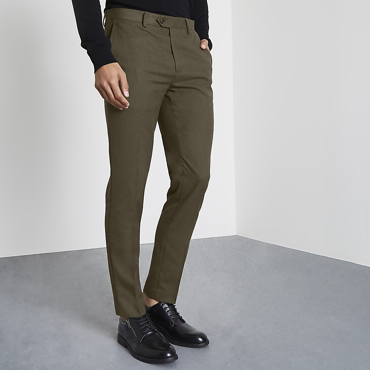 Khaki green smart skinny fit trousers