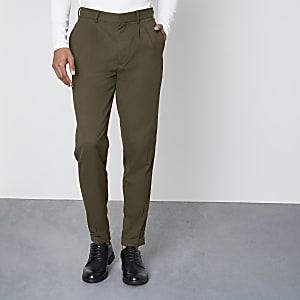 Khaki green tapered leg skinny fit pants