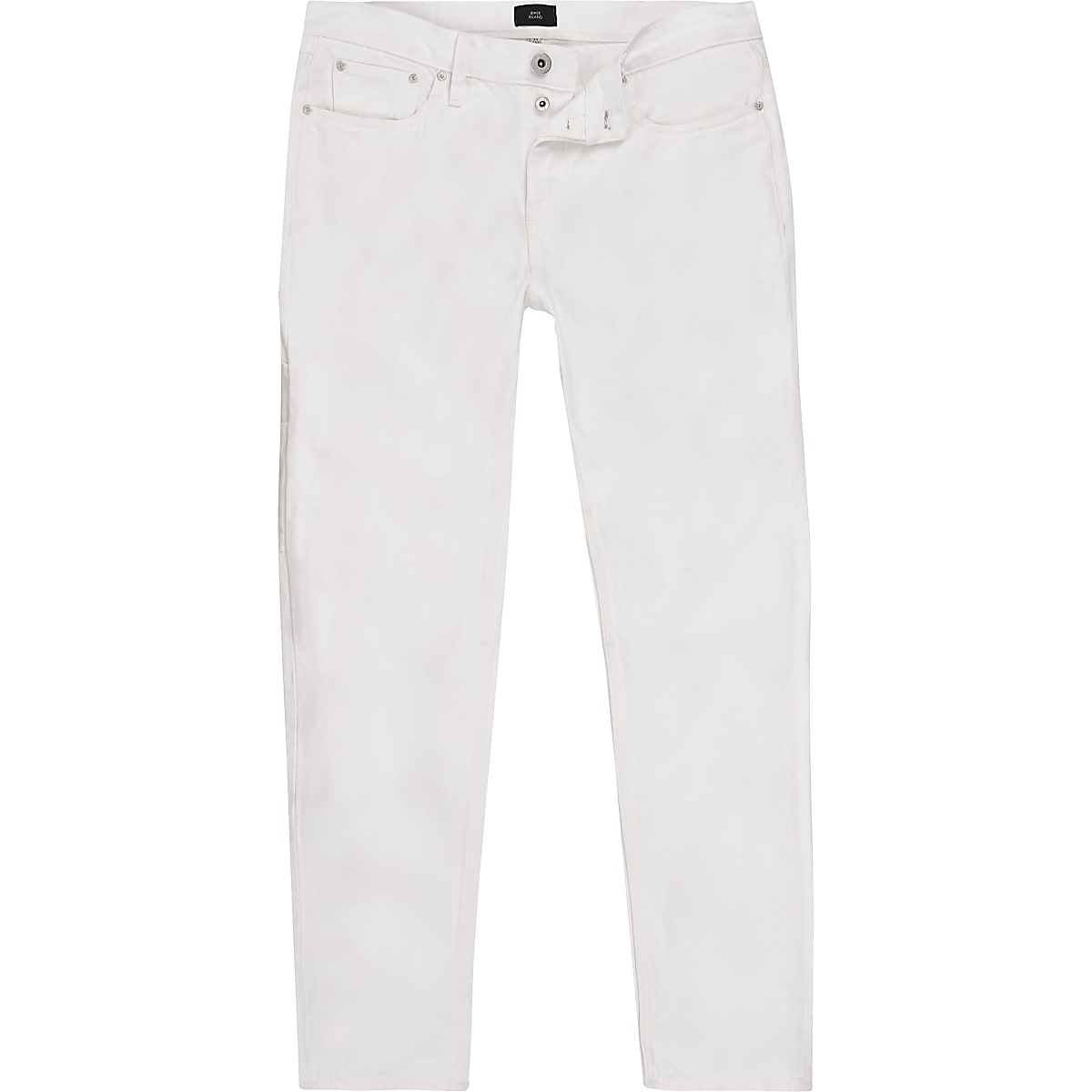 White slim fit tapered jeans