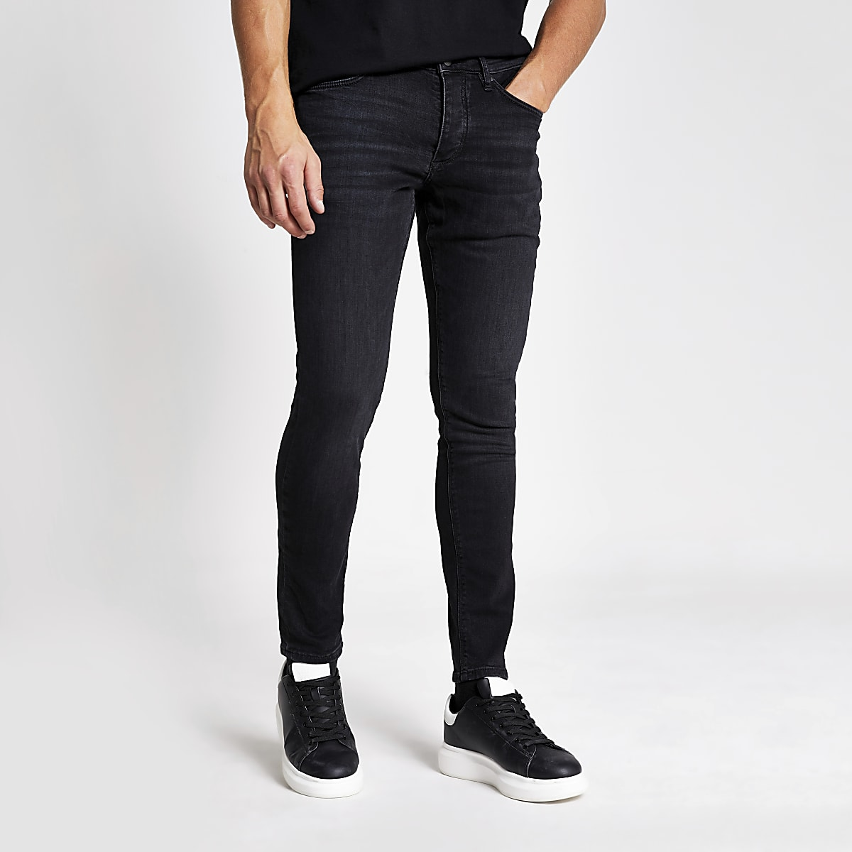 Black washed Sid skinny jeans