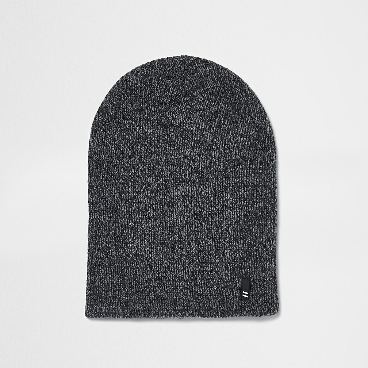 Grey twist knit slouch beanie hat