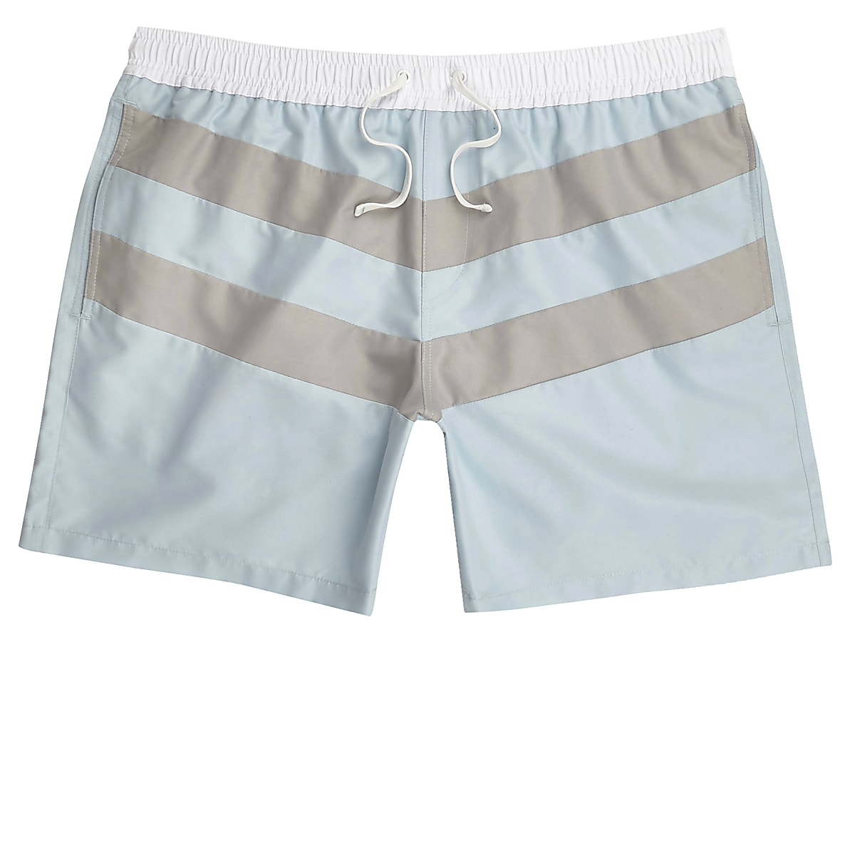 Light blue block stripe swim shorts