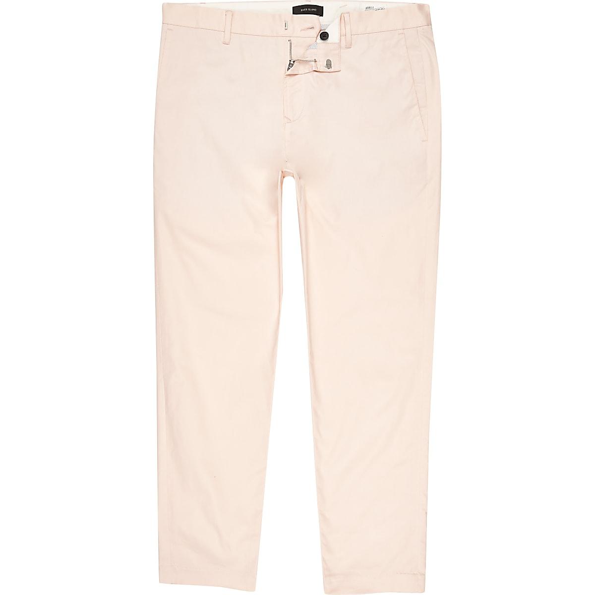 Peach slim fit ankle grazer chino pants