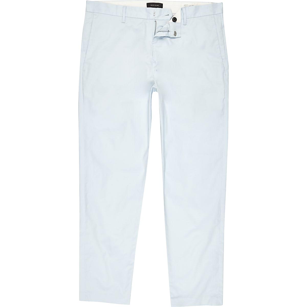 Light blue slim ankle grazer chino pants
