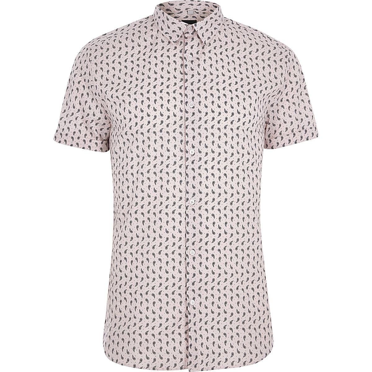 Pink paisley print muscle fit shirt