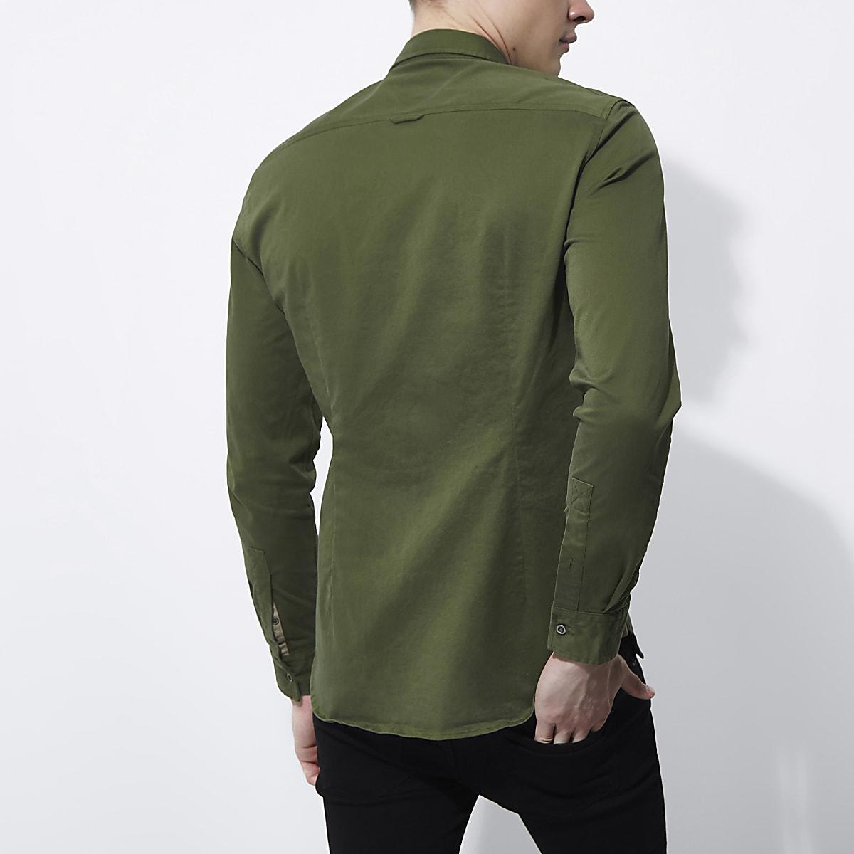 8363a1d0a Khaki green muscle fit military shirt - Long Sleeve Shirts - Shirts - men