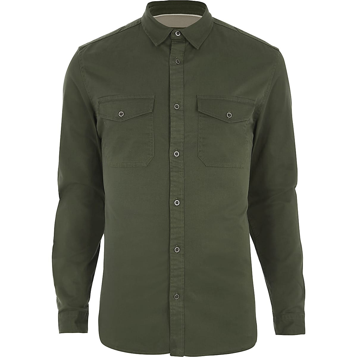 Khaki green muscle fit military shirt
