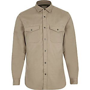 Stone long sleeve muscle fit military shirt