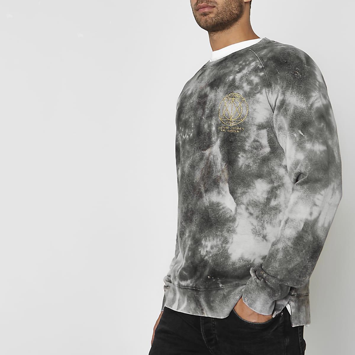 Jack & Jones grey tie dye crew sweatshirt