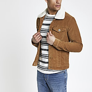 Tan fleece collar cord jacket