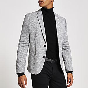 Light grey jersey skinny fit blazer