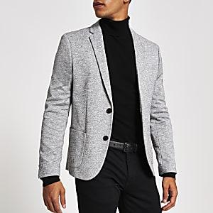 Lichtgrijze jersey skinny-fit blazer