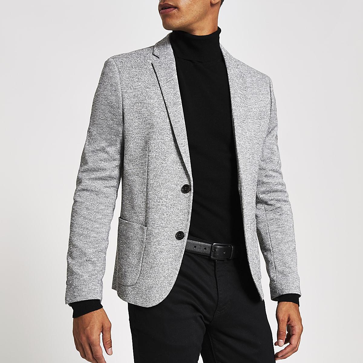 b5923e6197dad Light grey jersey skinny fit blazer