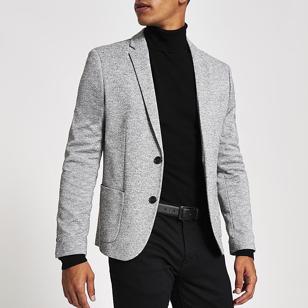 Blazer skinny en jersey gris clair