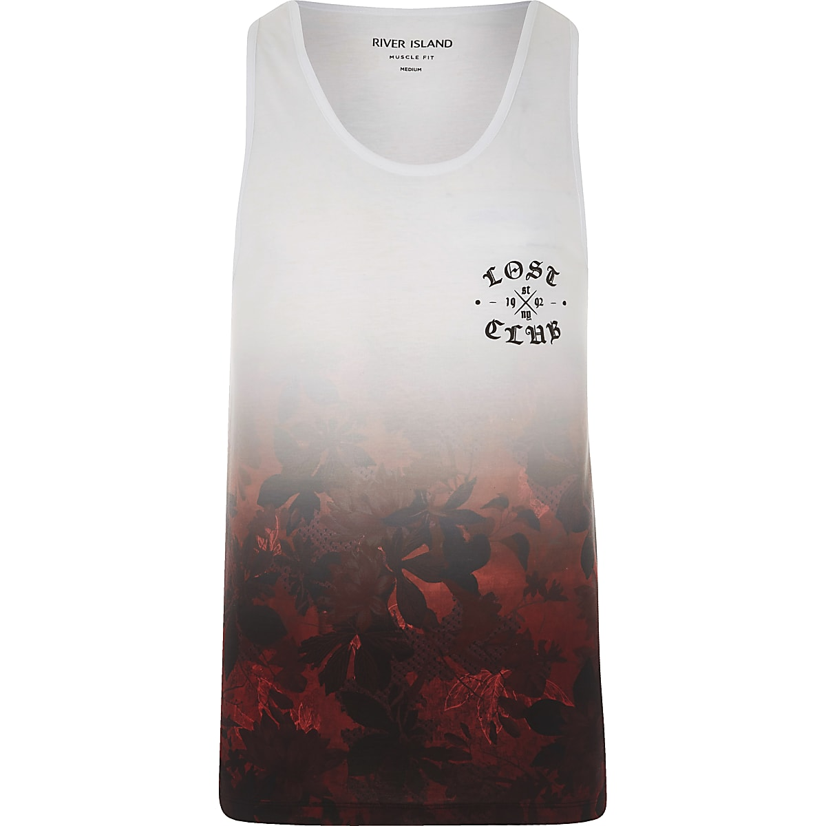 White and red hawaiian fade muscle fit tank