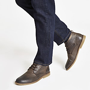 Bruine leren enkelhoge schoenen