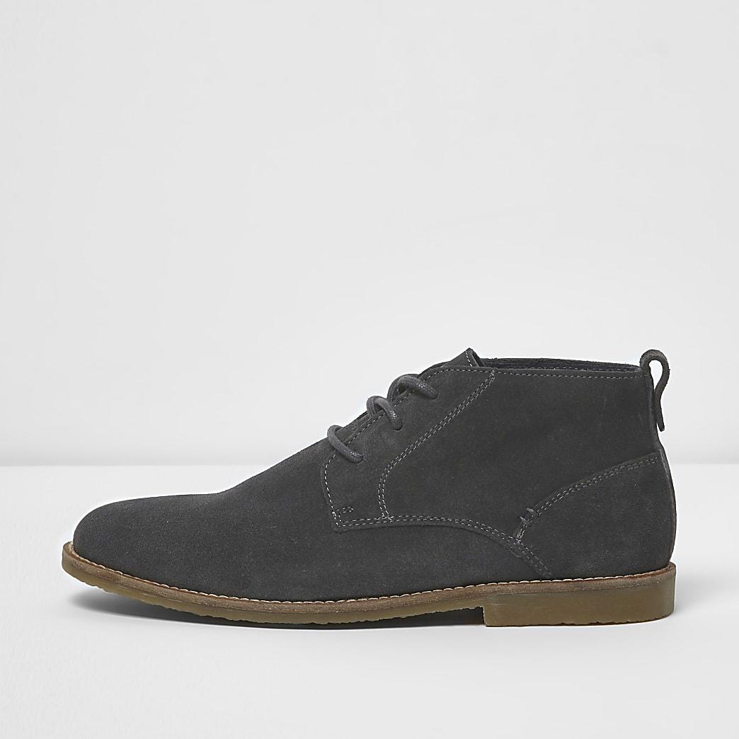 Dark grey suede chukka boots