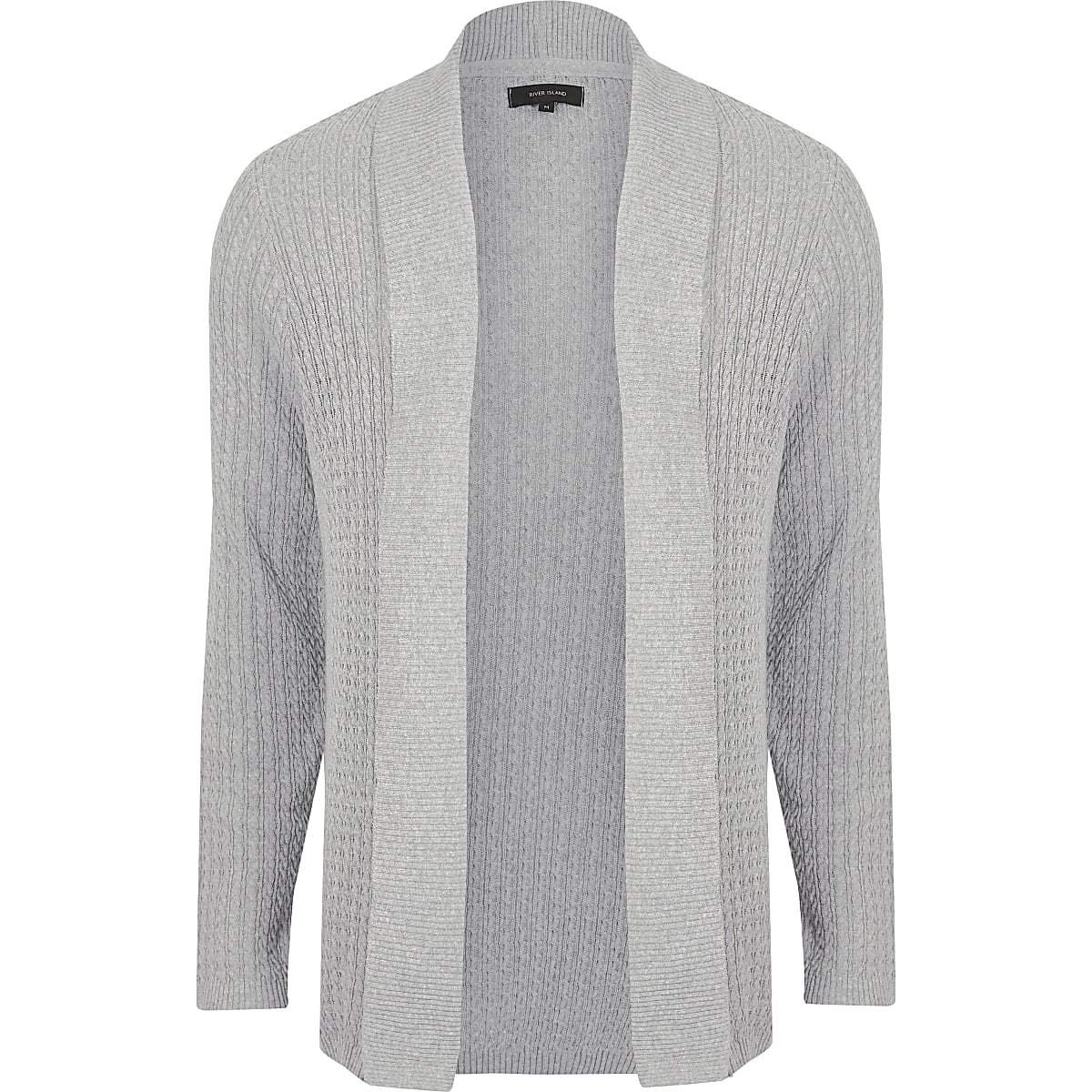 Grey cable knit open front cardigan