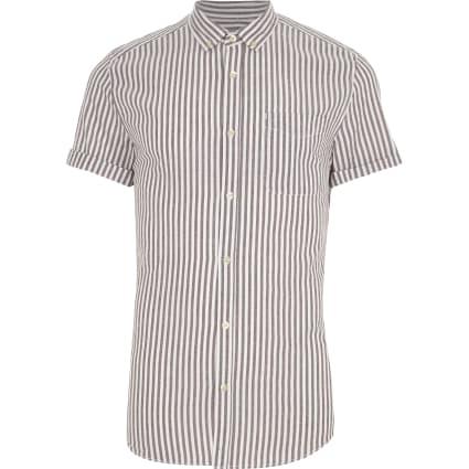 Purple stripe short sleeve slim fit shirt