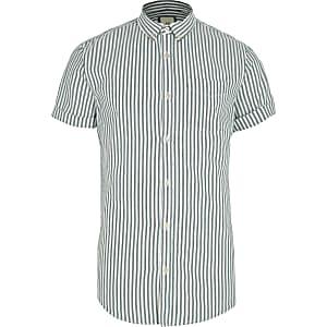 Green stripe short sleeve slim Oxford shirt