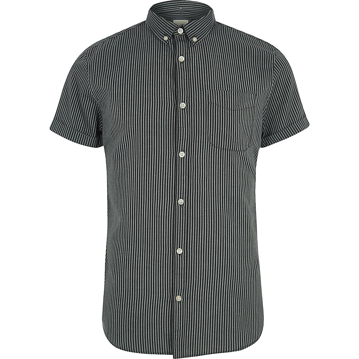 Overhemd Zwart Slim Fit.Zwart Gestreept Slim Fit Overhemd Met Korte Mouwen Overhemden Met