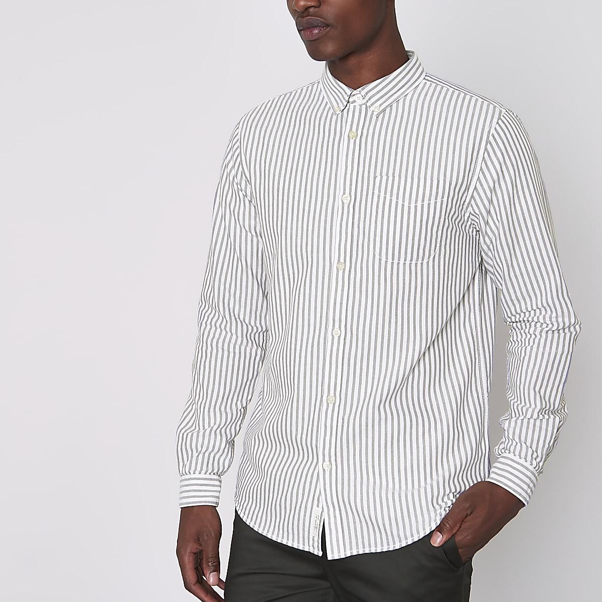 Grey stripe long sleeve Oxford shirt