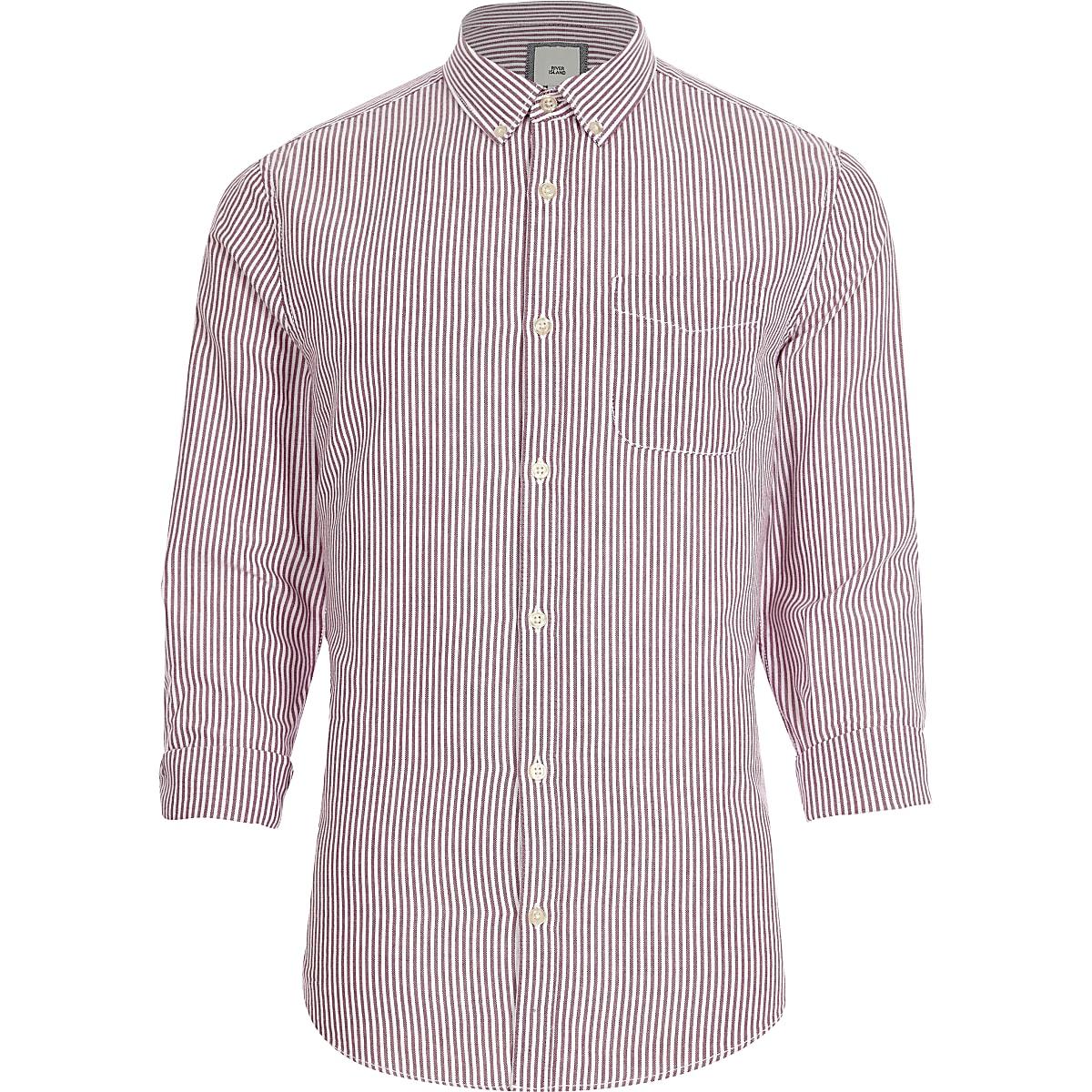 Purple stripe print button-down Oxford shirt