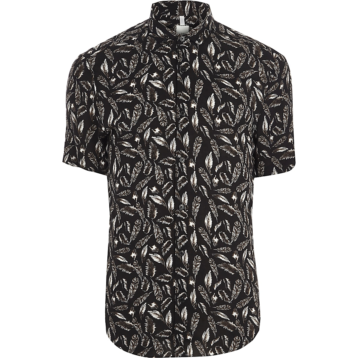 Black feather slim fit short sleeve shirt