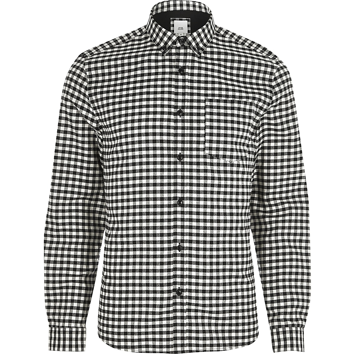 Overhemd Zwart Slim Fit.Zwart Slim Fit Overhemd Met Gingham Ruit En Button Down Kraag