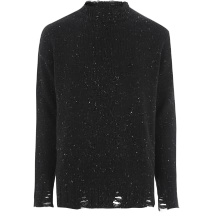 Black flecked knit crew neck jumper