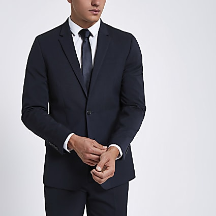 Dark blue slim fit suit jacket