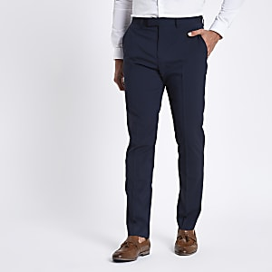 Dark blue stretch slim fit suit trousers