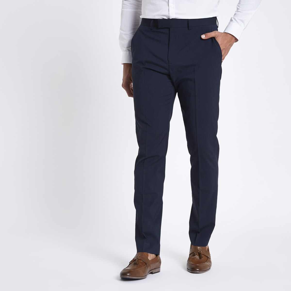 Pantalon de costume coupe slim stretch bleu foncé