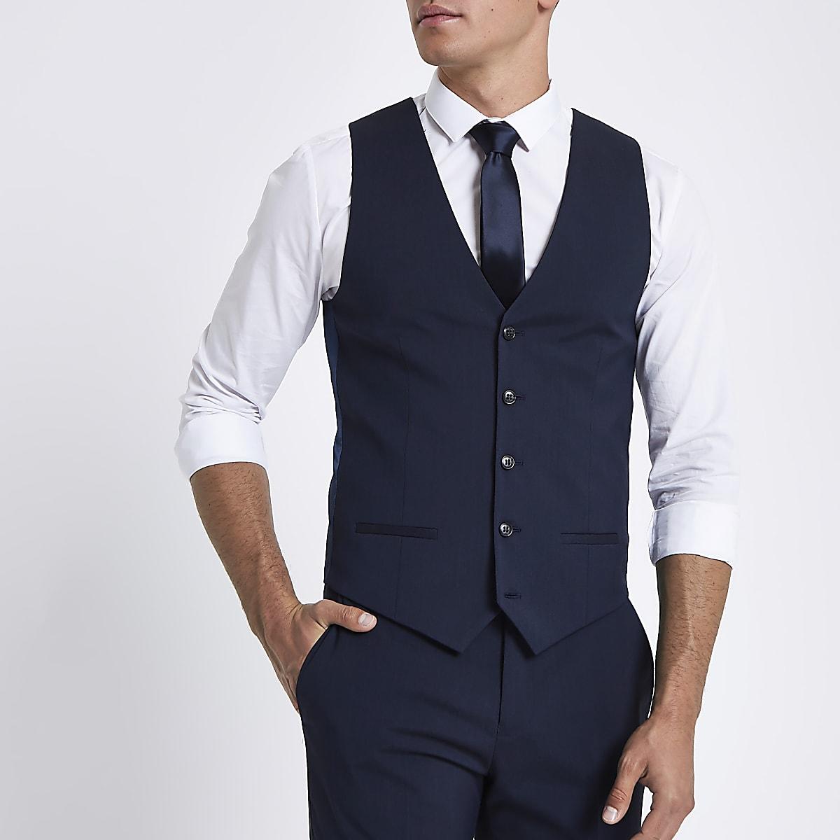 Gilet de costume bleu marine