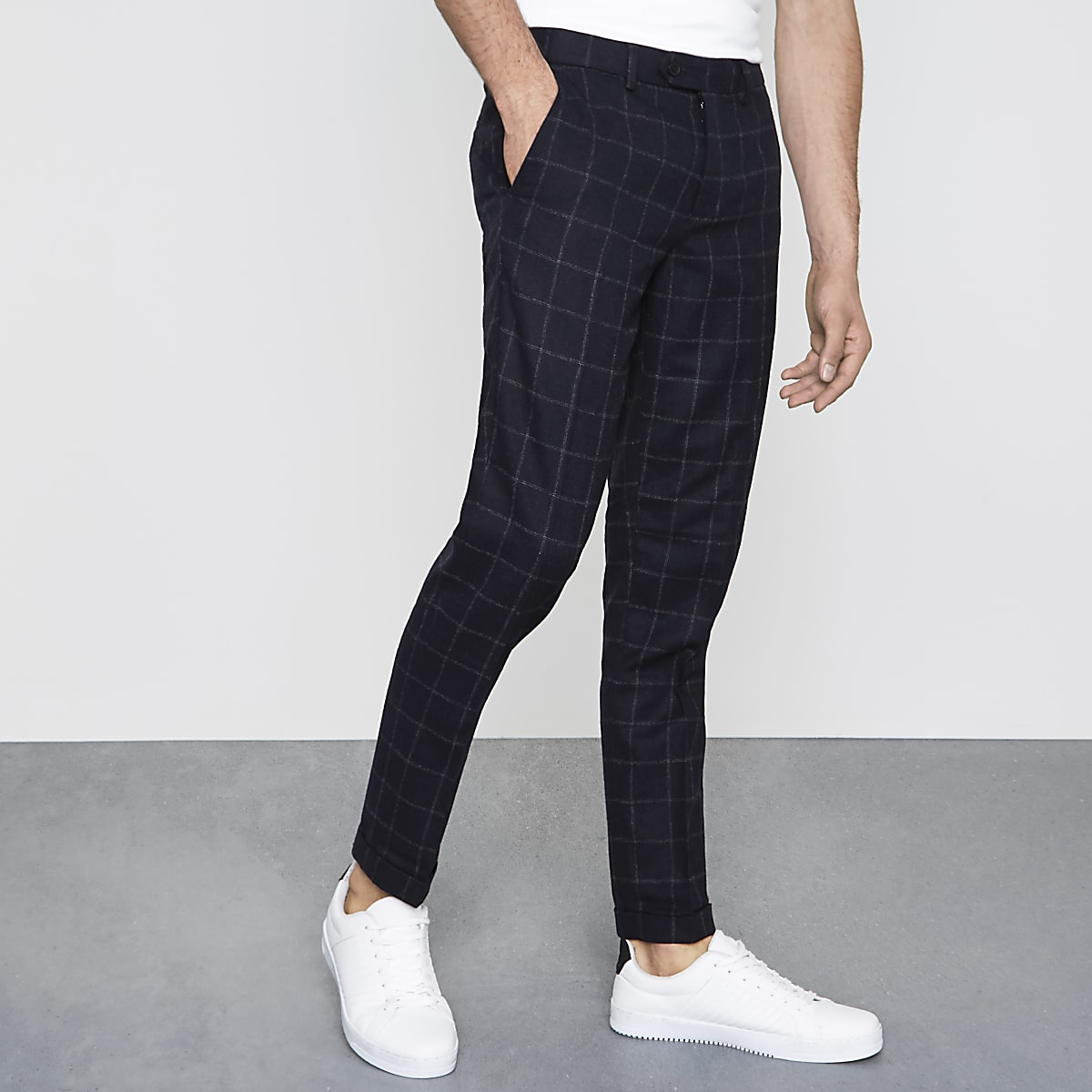 9d746977 Navy check skinny fit smart trousers - Smart Trousers - Trousers - men