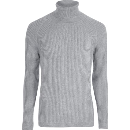 Grey ribbed muscle fit roll neck jumper