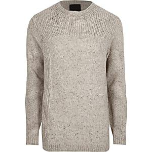 Cream textured knit crew neck sweater