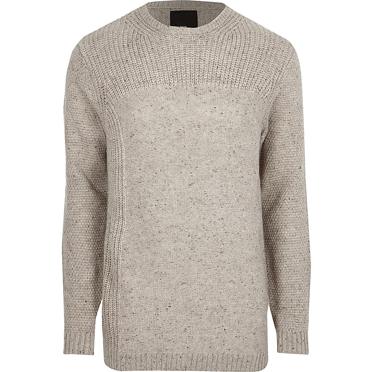 Cream textured knit crew neck jumper