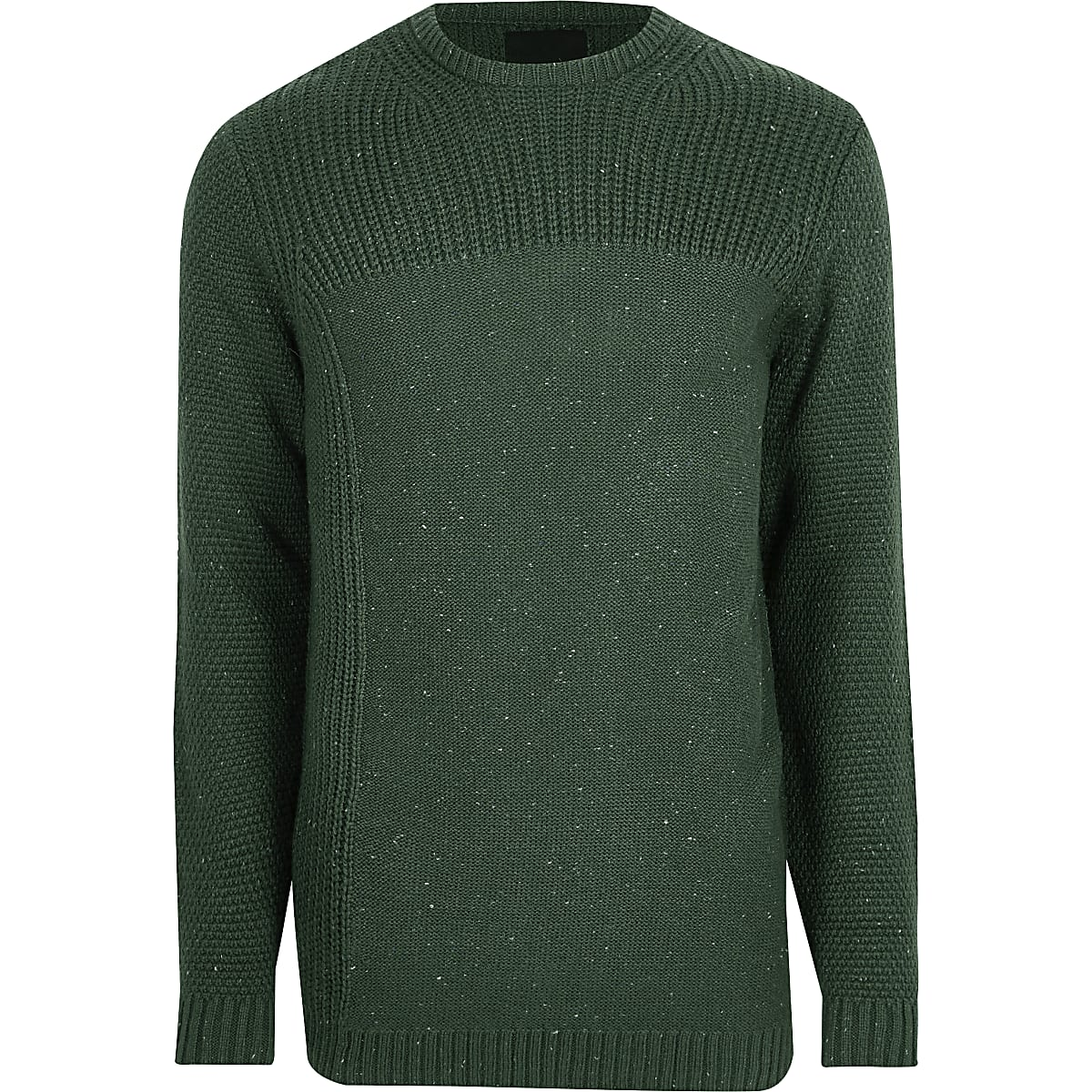 Dark green textured crew neck sweater
