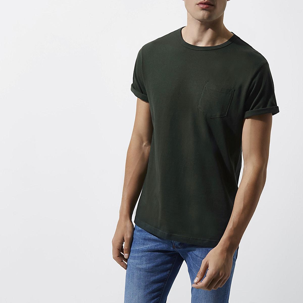 Dark green rolled sleeve pocket T shirt