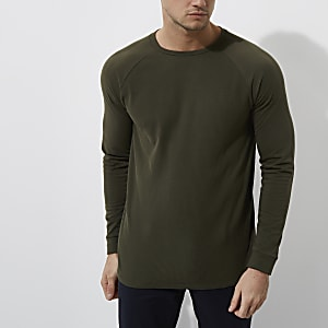 Dark green waffle slim fit raglan sleeve top