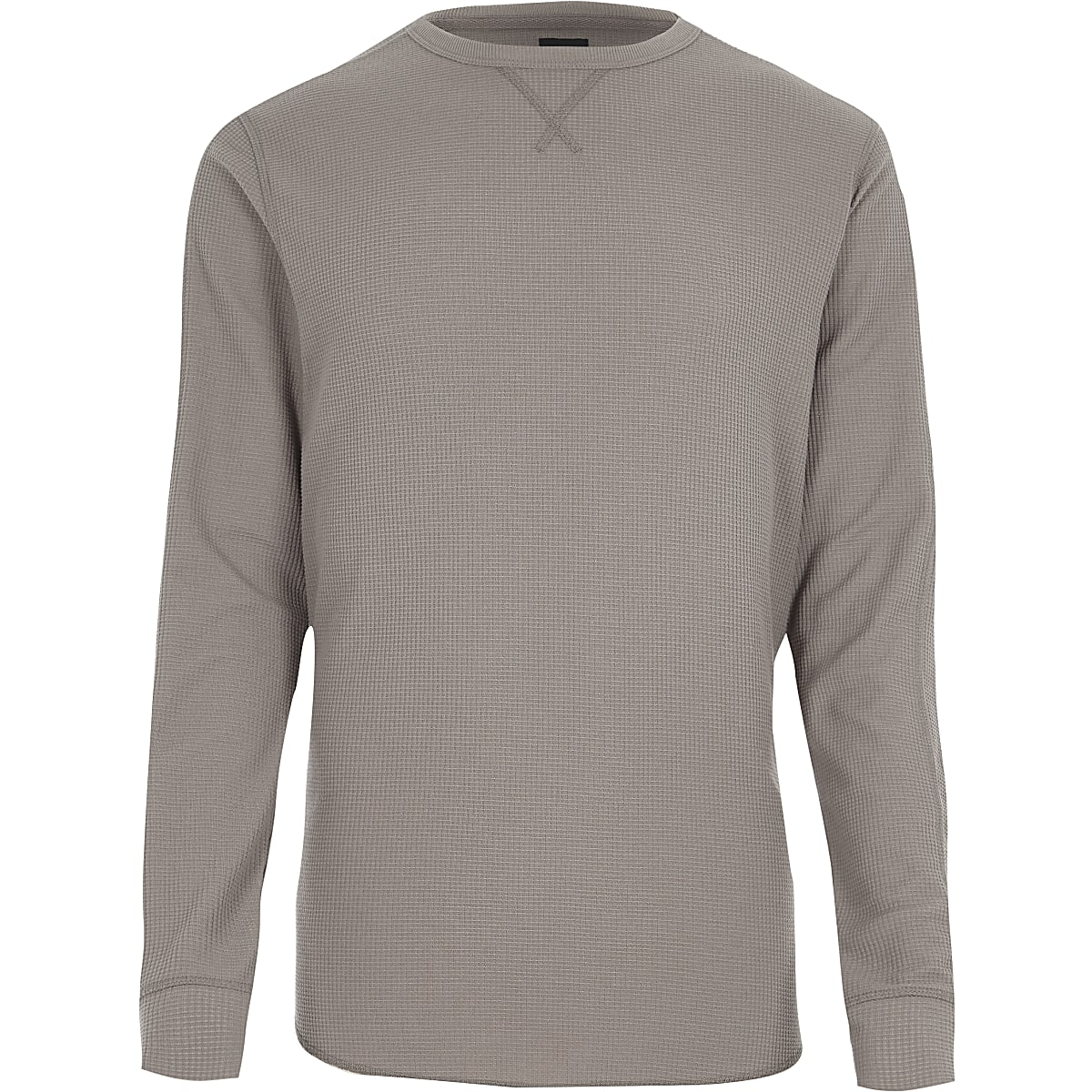 Light brown waffle long sleeve slim fit top