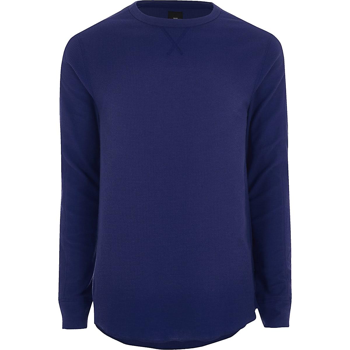 T-shirt ras du cou gaufré bleu à manches longues