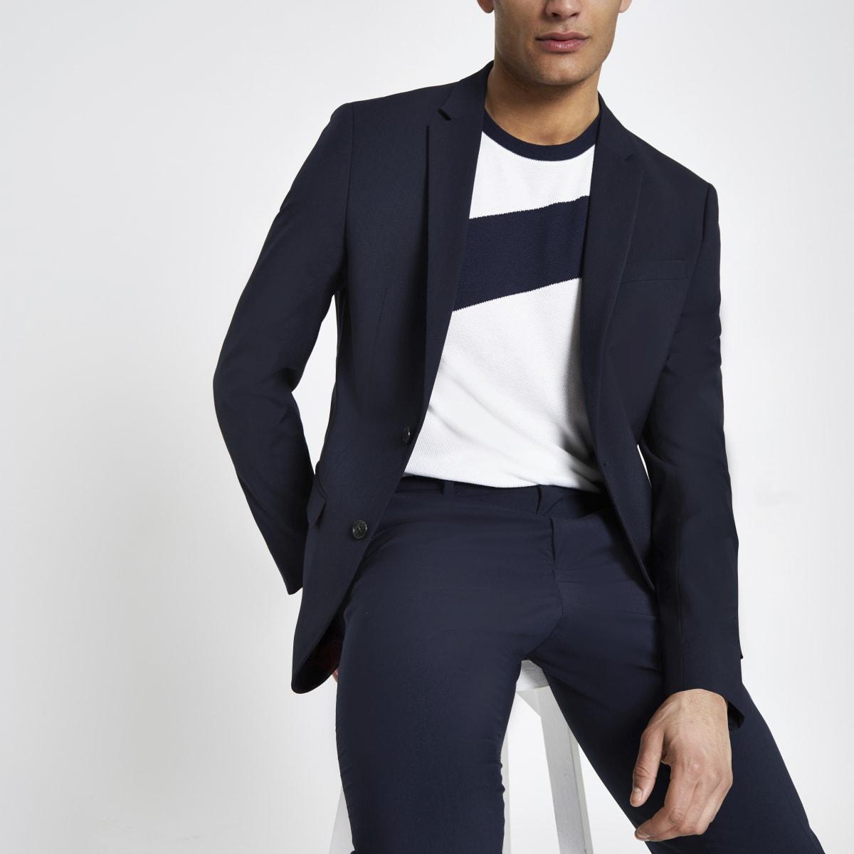 Marineblauw slim-fit kostuum